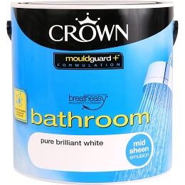 Crown Breatheasy Bathroom Emulsion Paint 2.5L Pure Brilliant White