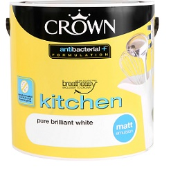 Crown Breatheasy Kitchen Emulsion Paint 2.5L Pure Brilliant White